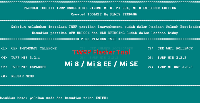 TWRP Flasher Toolkit for Mi 8, Mi 8 EE, Mi 8 SE 2