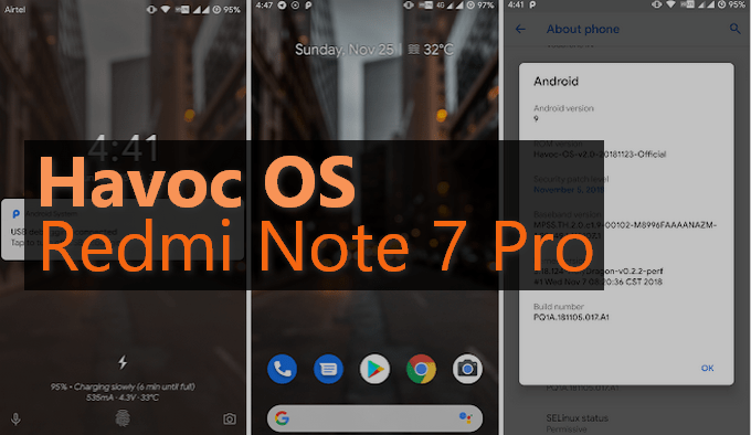 Havoc OS v2.4 Android 9.0 Pie for Redmi Note 7 Pro 1